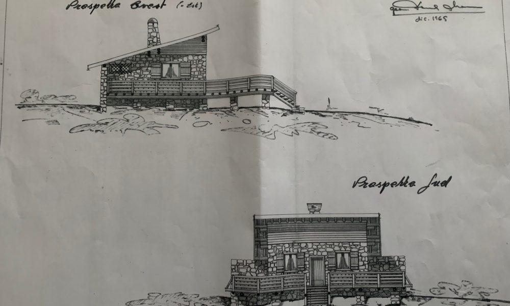 1960Il progetto del primo rifugio costruito nel 1965 dal Signor Longhi e la moglie Paola che ancora non immaginavano lo sviluppo che avrebbe avuto la montagna dal punto di vista turistico.